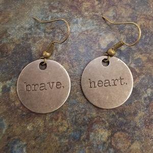 Brave Heart Handmade Stamped Metal Earrings